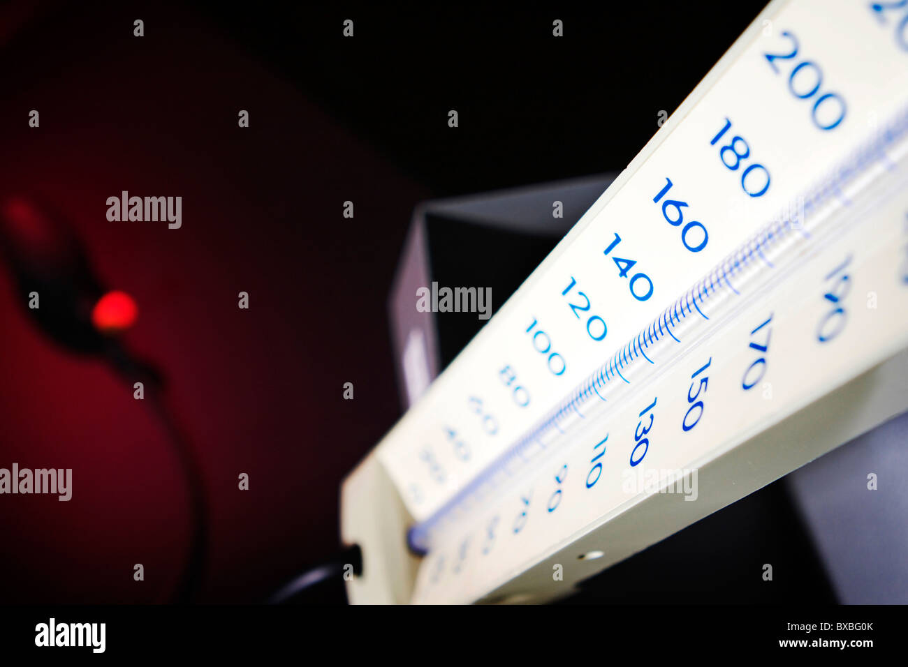 Close up of a Sphygmomanometer a medical instrument used to measure blood pressure BP - Stock Image