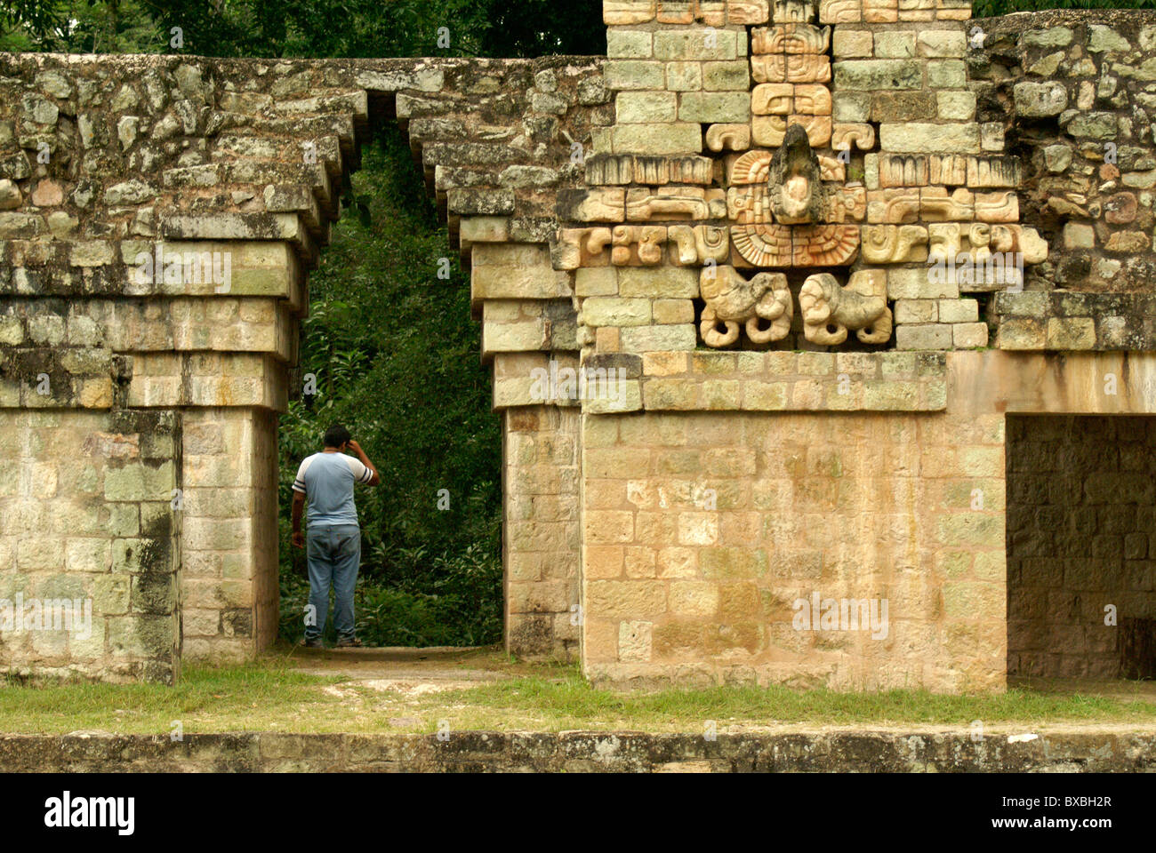 Sculpted Macaw and Maya corbeled arch on the ballcourt at the Mayan ruins of Copan, Honduras. - Stock Image