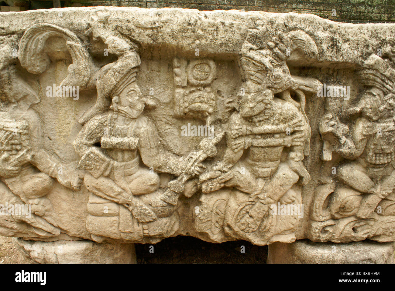 Altar Q showing the 16 rulers of the Mayan city of Copan, Copan ruins, Honduras - Stock Image
