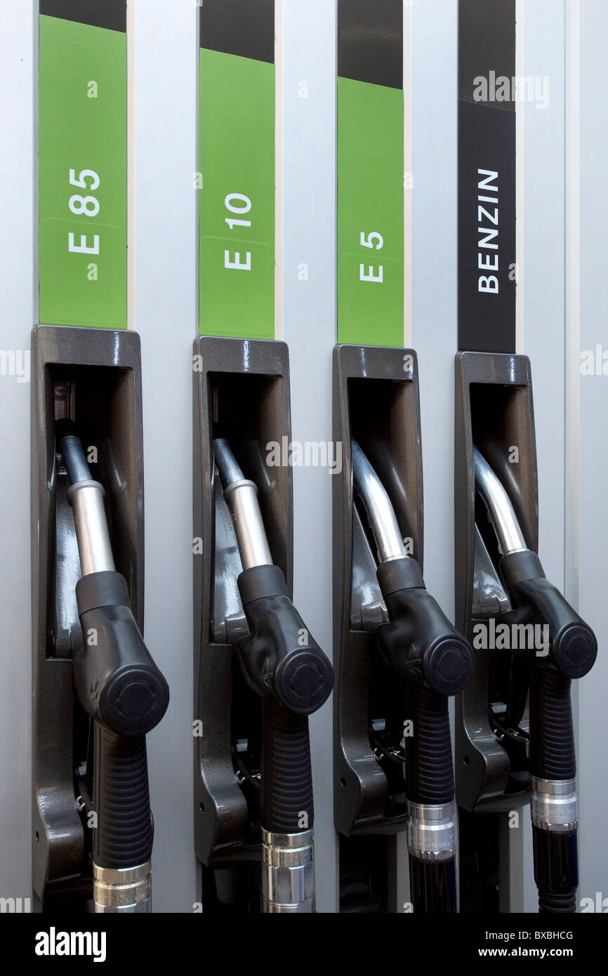Petrol pump with bioethanol E85, E10, E5, and gasoline at the 63. Internationale Automobilausstellung International - Stock Image