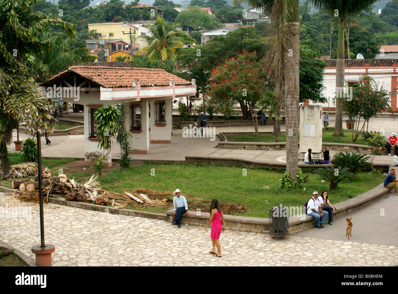 Main square in the town of Copan Ruinas, Honduras, Central America - Stock Image