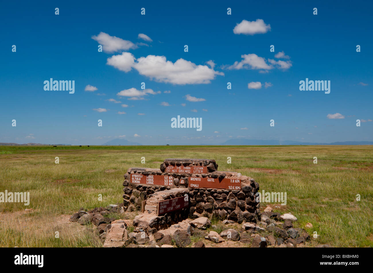 East Africa, Kenya, Amboseli, road junction direction marker - Stock Image