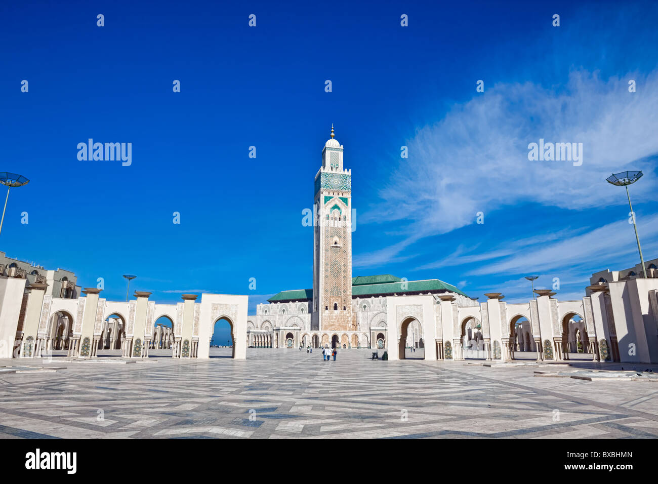 Exterior of Hassan II mosque with blue sky and cloudscape background, Casablanca, Morocco. - Stock Image