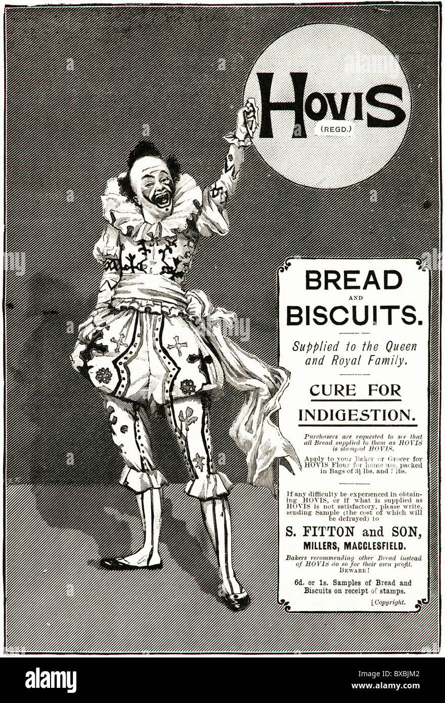 Victorian advertisement circa 1895 for Hovis bread and biscuits - Stock Image