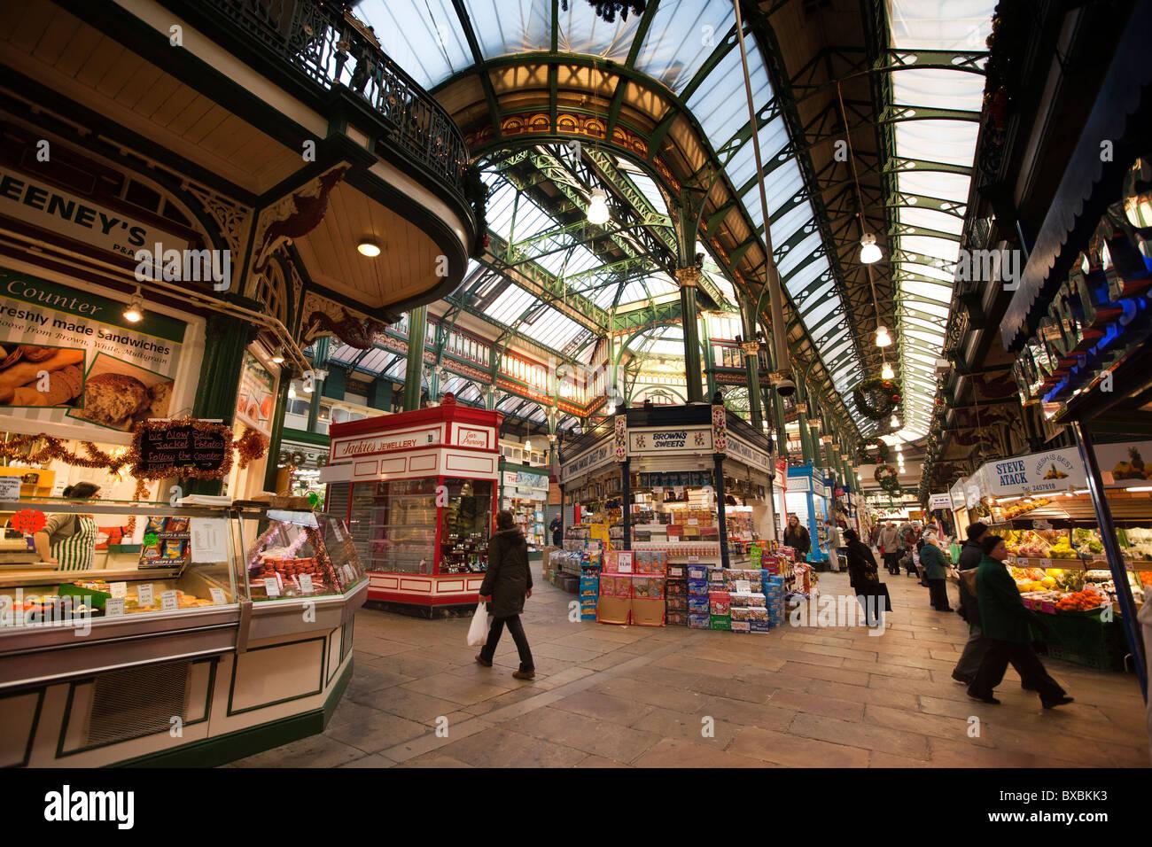 UK, England, Yorkshire, Leeds, New Market Street, Kirkgate Market Stock Photo - Alamy