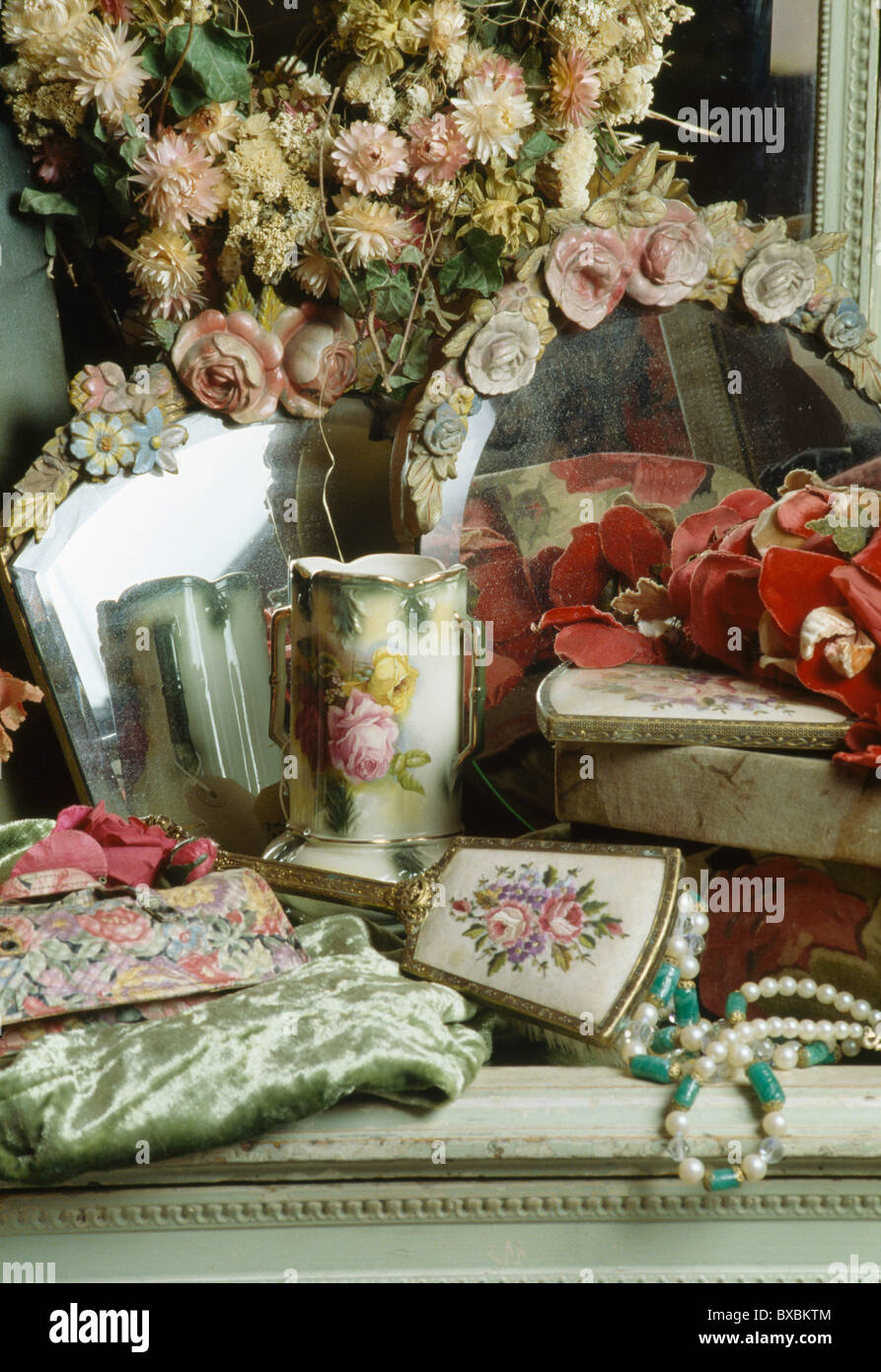 online store 679bd 3ef45 Still-Life of dressing-table with antique floral vase and ...
