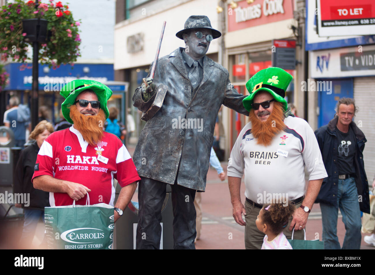 Leprechauns and living James Joyce Statue at the centre of Dublin, Ireland - Stock Image