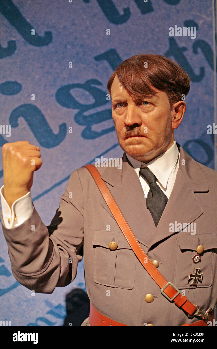wax figure of Hitler at Madame Thussauds in London - Stock Image