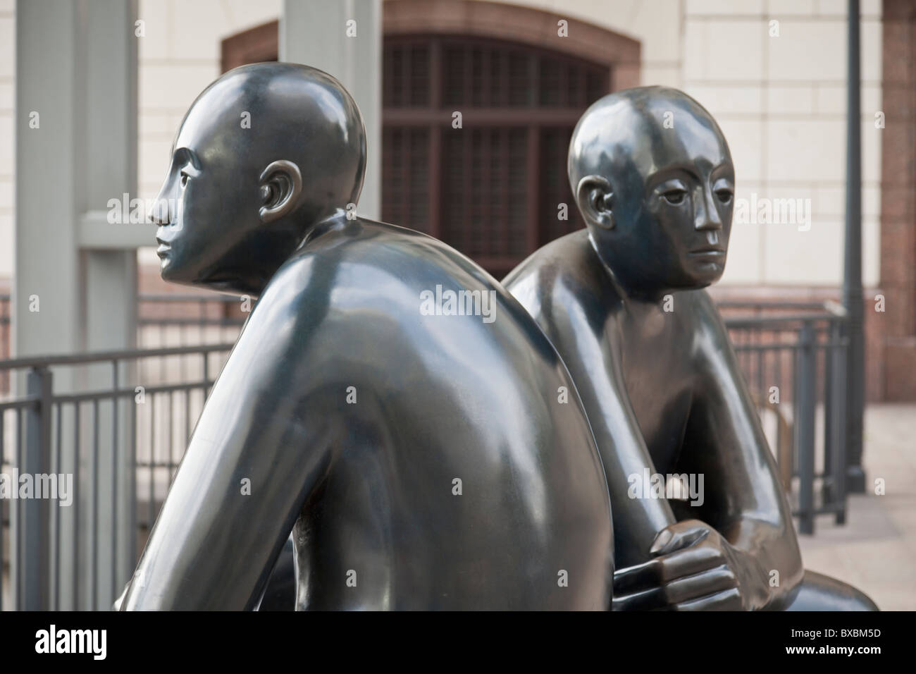 Two Men on a Bench,Giles Penny, Bronze Sculpture - Stock Image