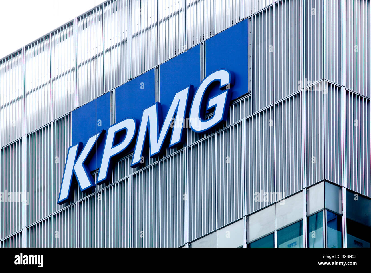 Logo of the accountants company KPMG in Canary Wharf, London, England, United Kingdom, Europe - Stock Image