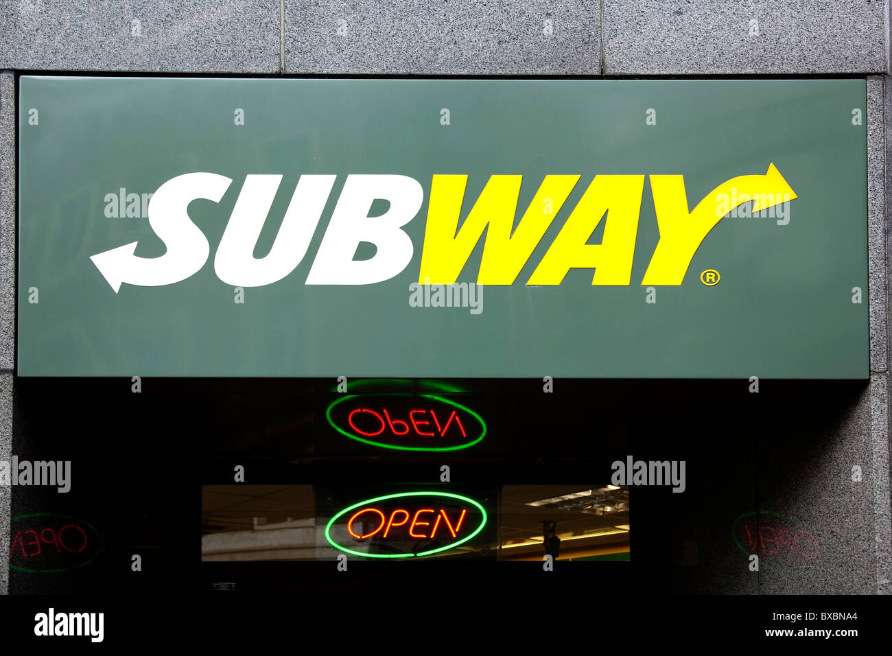Logo of the fast food chain Subway in London, England, United Kingdom, Europe - Stock Image