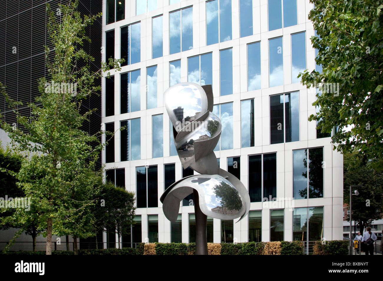 Drill sculpture in front of the headquarters of the mining company Rio Tinto in London, England, United Kingdom, - Stock Image