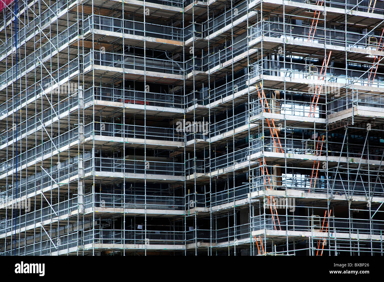 Construction site, house with scaffolding in London, England, United Kingdom, Europe - Stock Image
