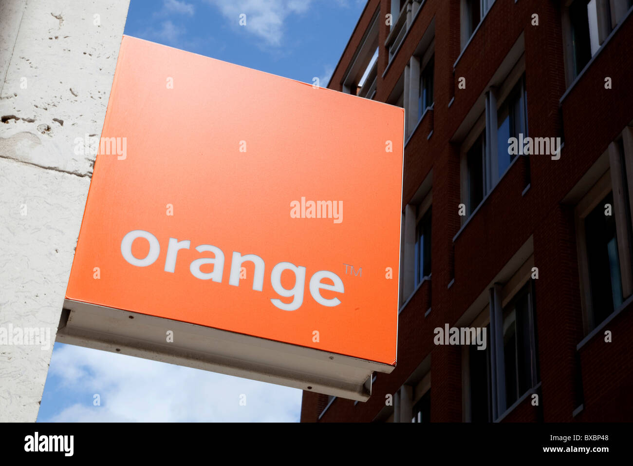 Logo of the telecommunications company Orange in London, England, United Kingdom, Europe - Stock Image