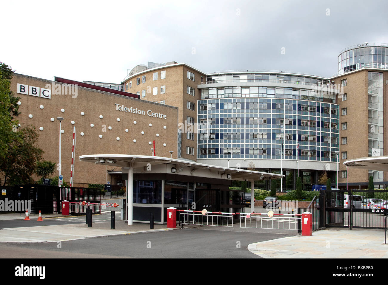 BBC TV channel, broadcasting centre in London, England, United Kingdom, Europe - Stock Image