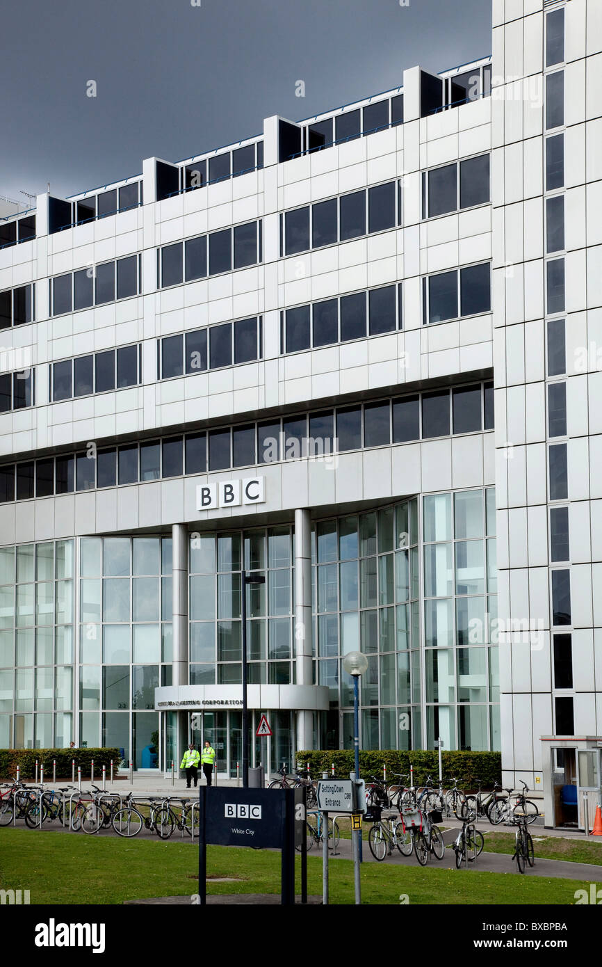 Office building of the BBC television channel in the White City, London, England, United Kingdom, Europe - Stock Image