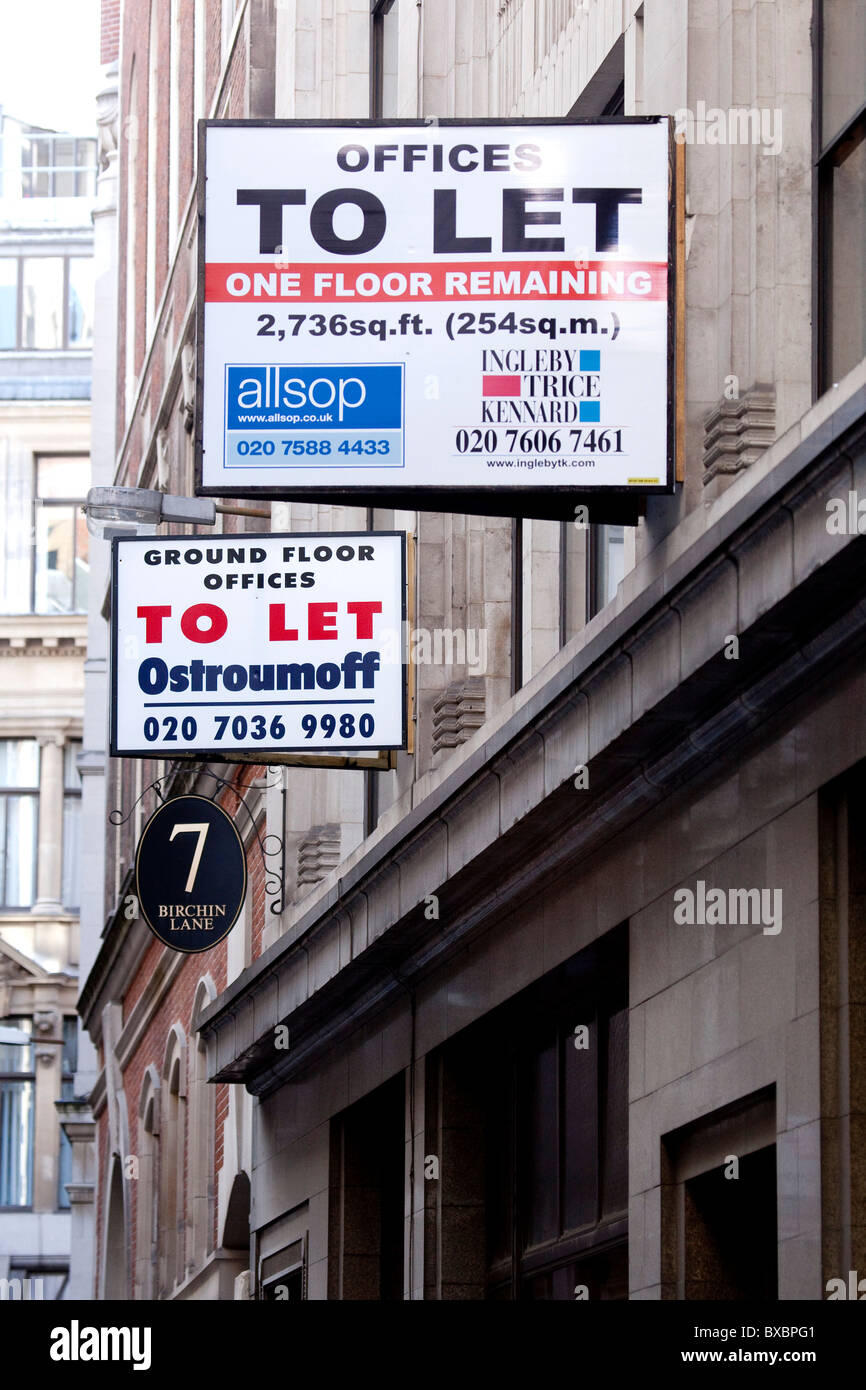 Sign, offices to let, in the financial district in London, England, United Kingdom, Europe - Stock Image
