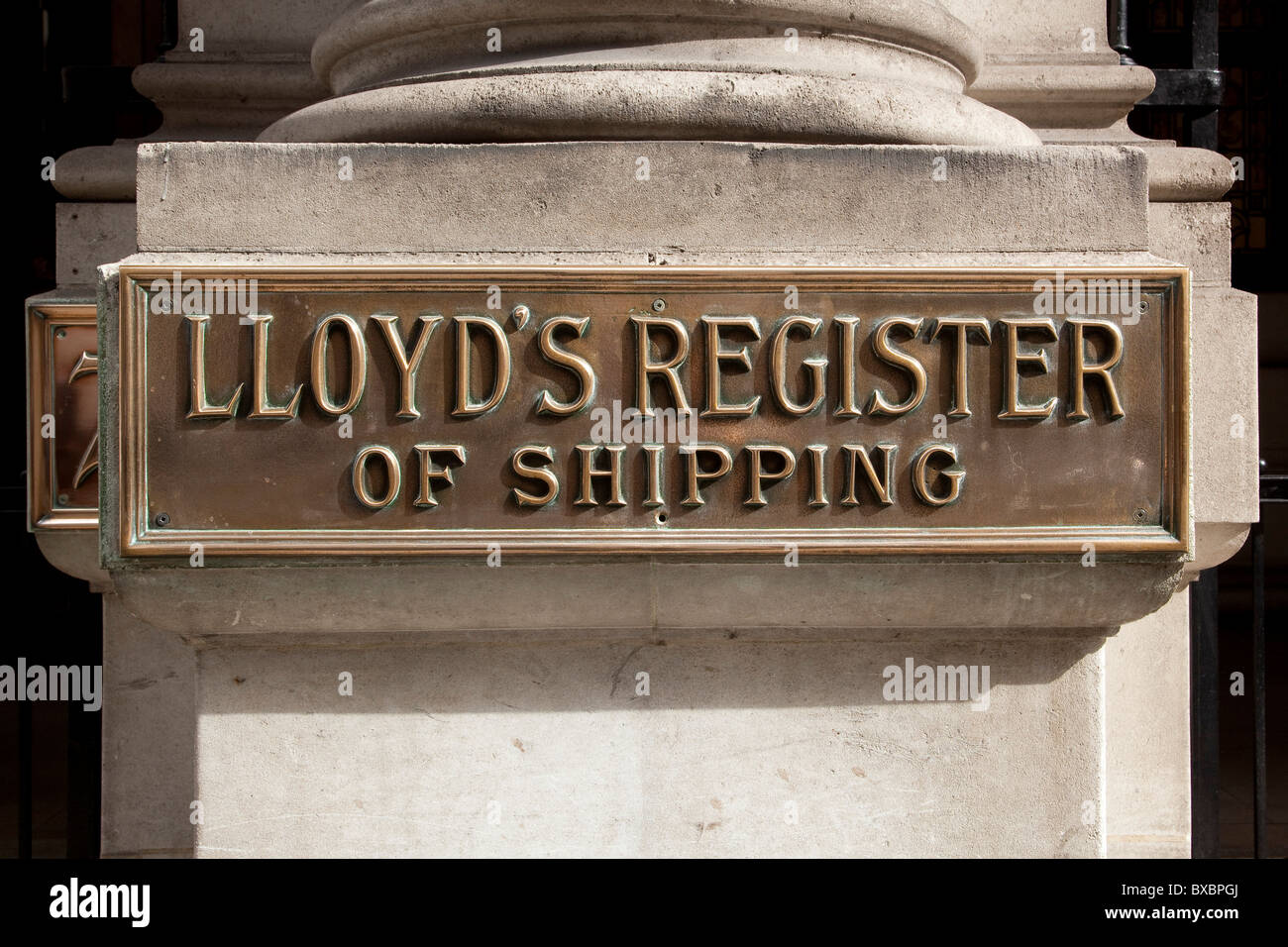 Lettering, Lloyds Register of Shipping, London, England, United Kingdom, Europe - Stock Image