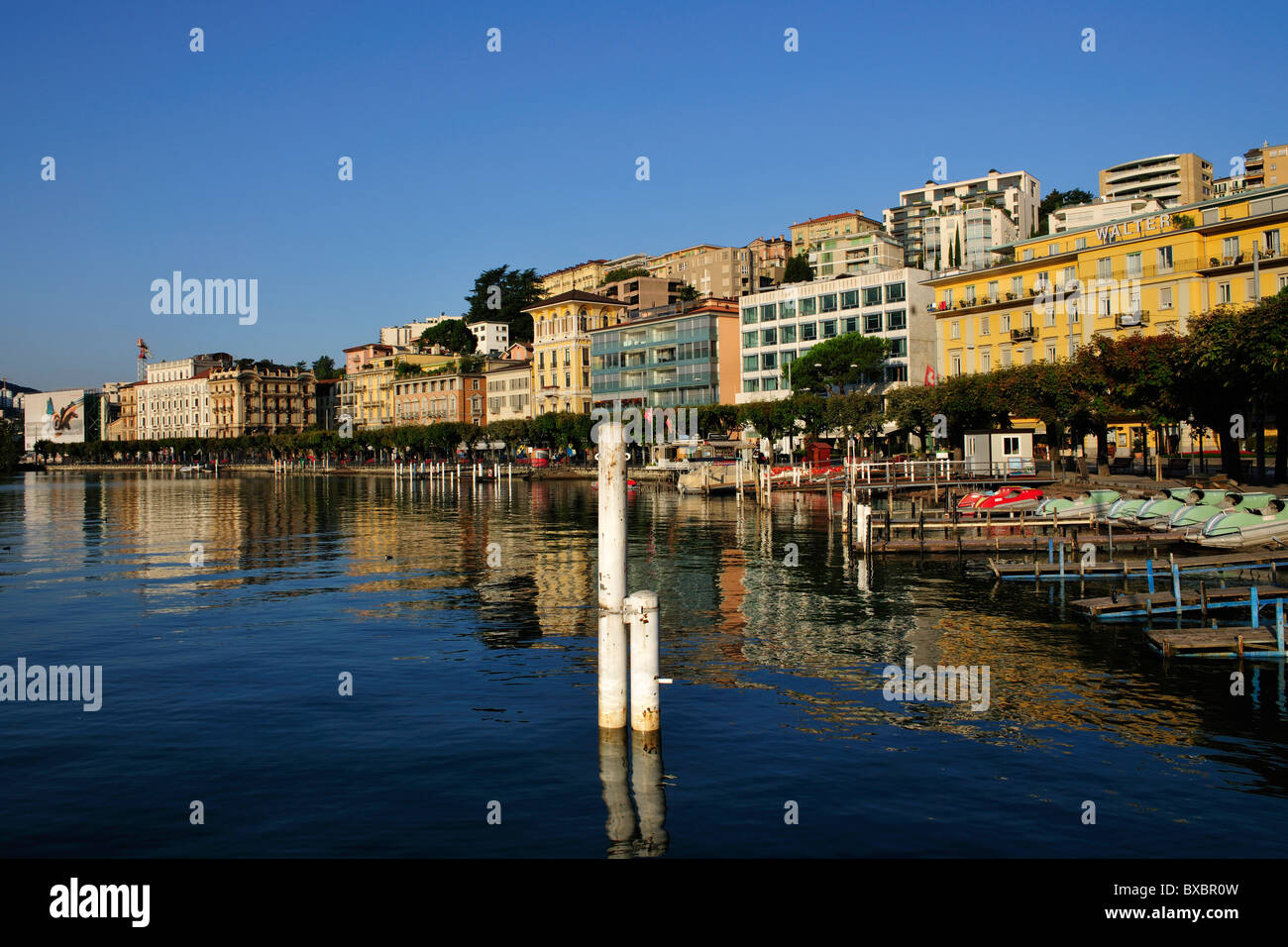 Lugano on Lago di Lugano, Lake Lugano, Canton of Ticino, Switzerland, Europe Stock Photo