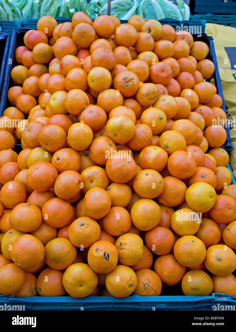 satsumas on a market stall, UK - Stock Image