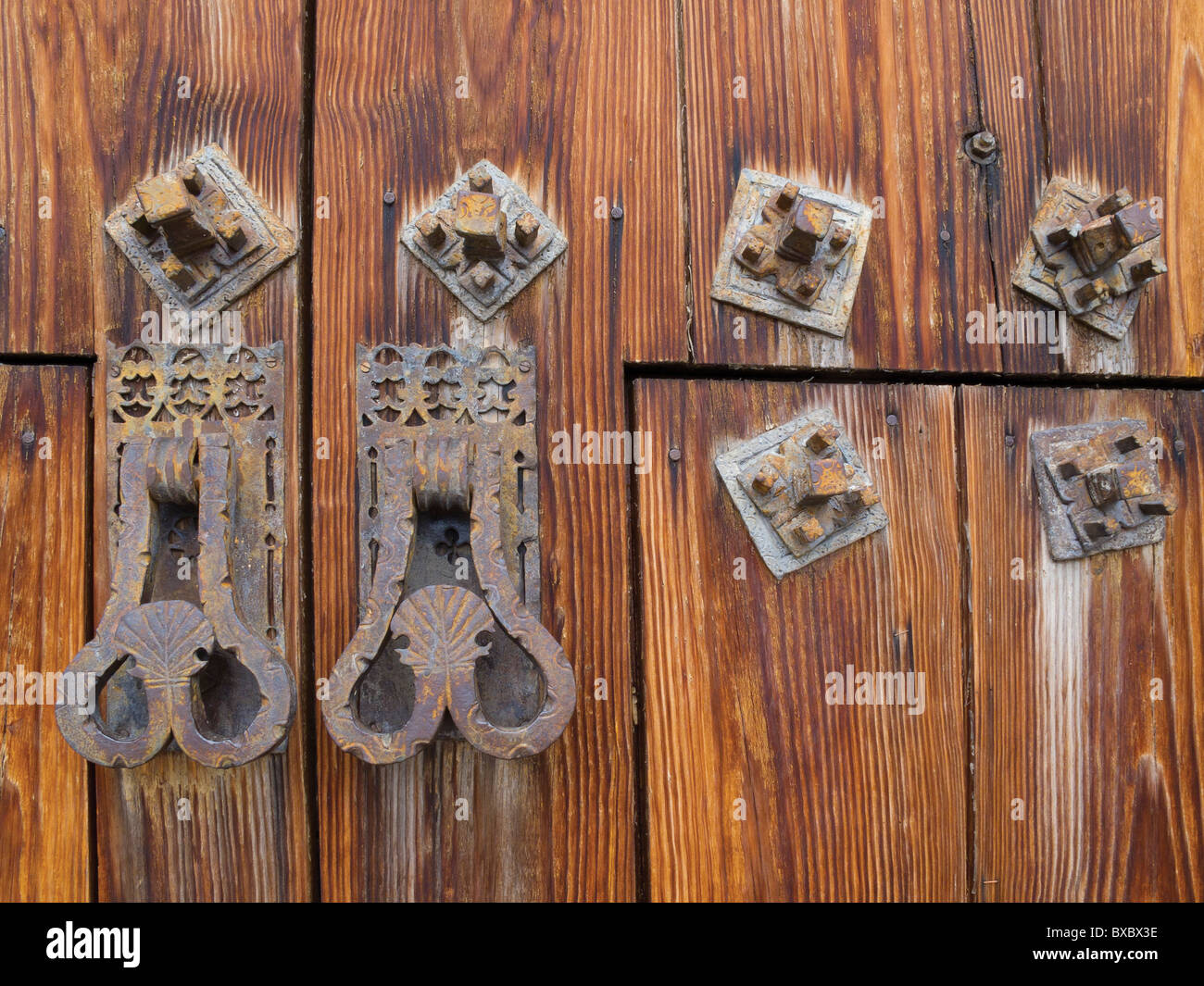 Timber church door with handles and fasteners. - Stock Image