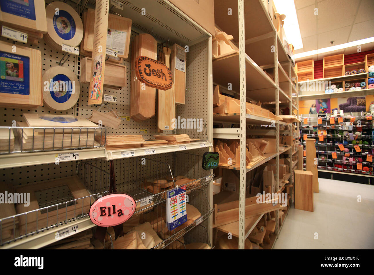 Wooden Crafts For Sale In Michael S Store In Ontario Canada Stock