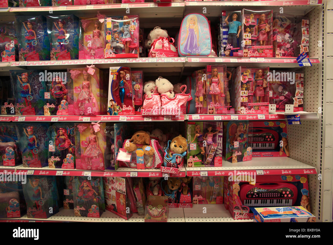 Barbie dolls in Toys R Us store, Ontario, Canada Stock ...