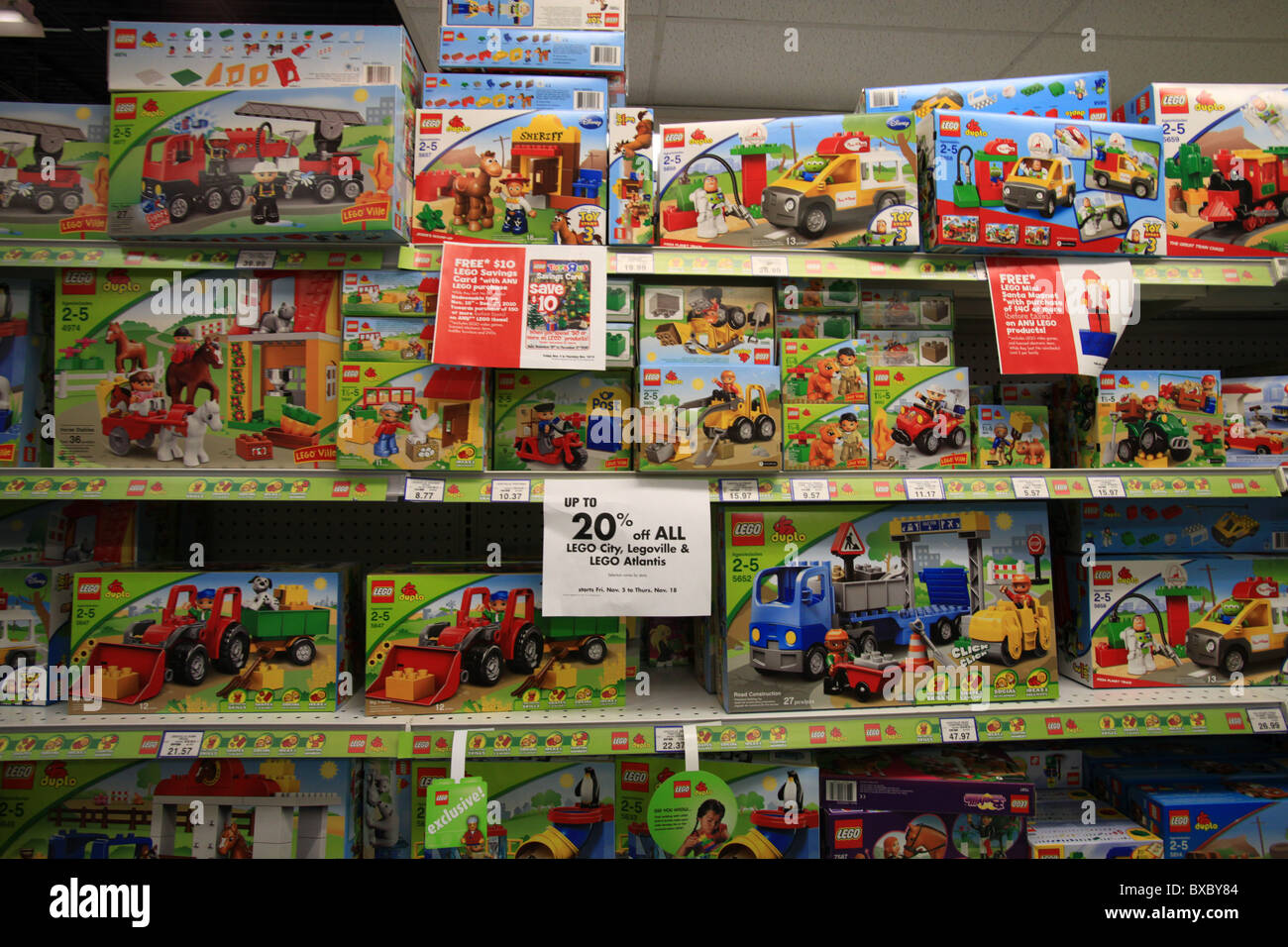 Lego vehicles on sale in Toys R Us store, Ontario, Canada