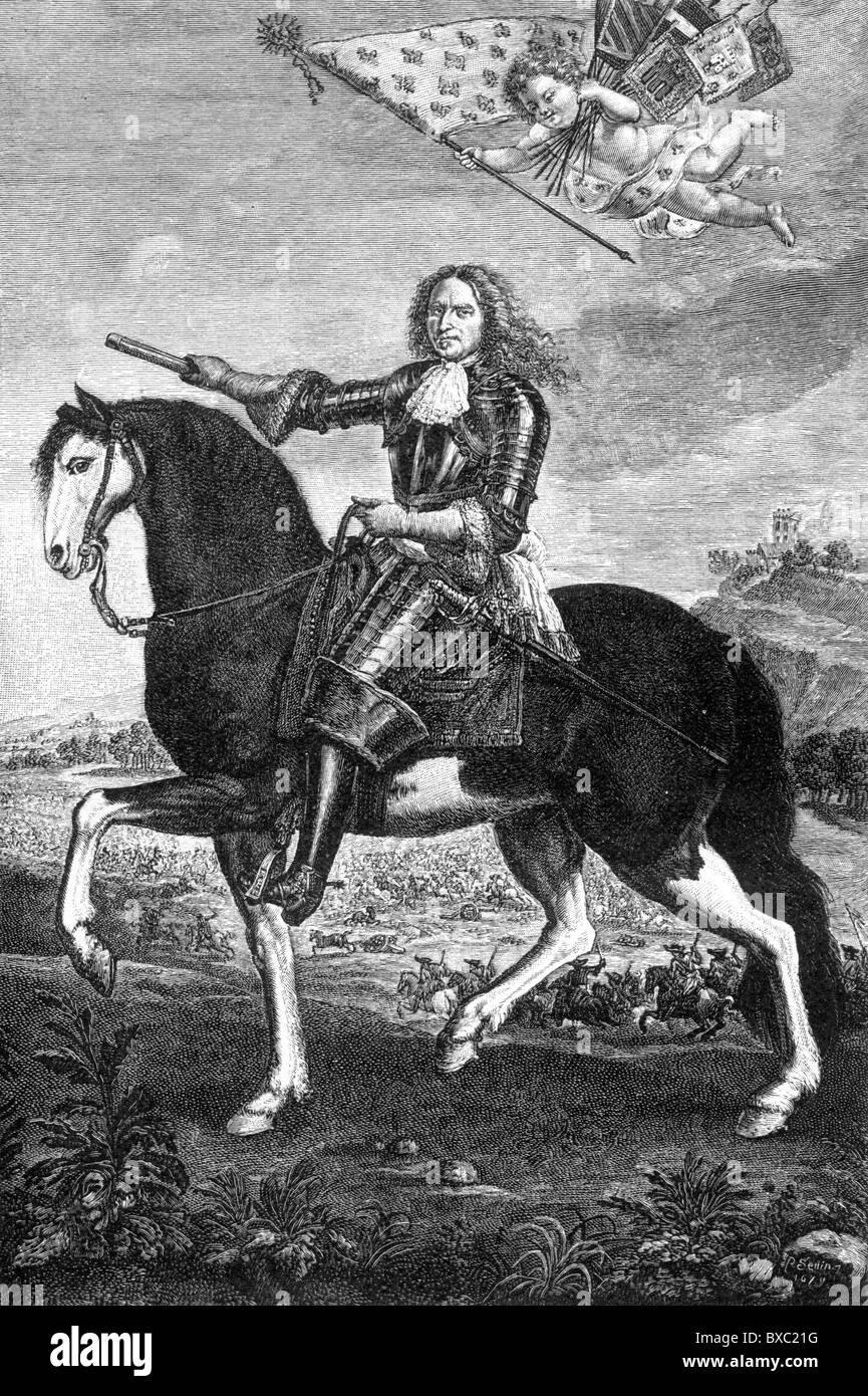 Henri de la Tour d'Auvergne, Vicomte de Turenne, Marshal General of France; Black and White Illustration; - Stock Image