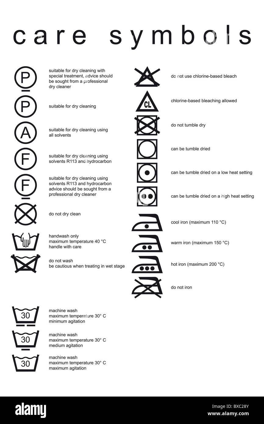 Wash Care Symbols Stock Photos Wash Care Symbols Stock Images Alamy