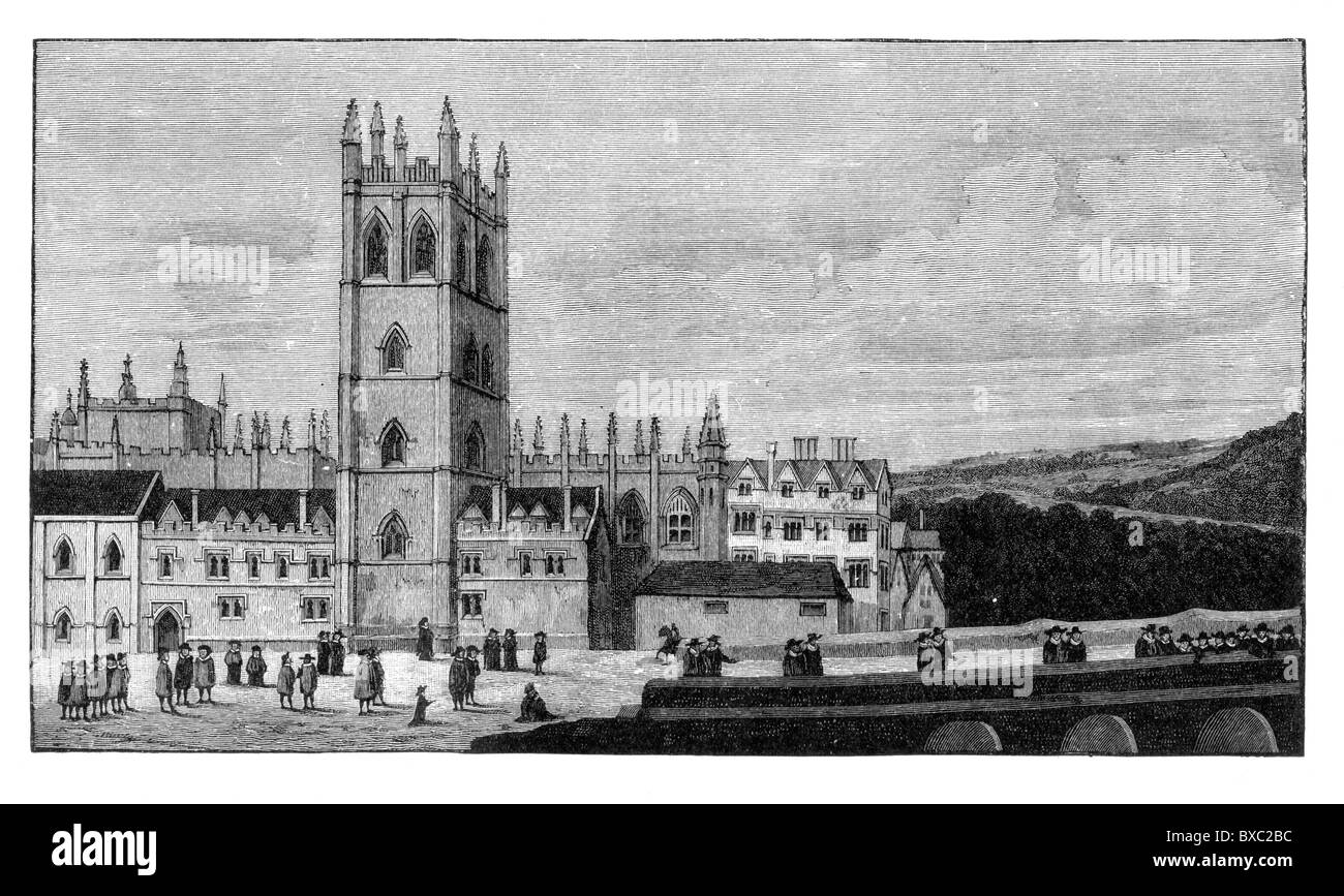 Magdalen College, Oxford in the 17th Century; Black and White Illustration; - Stock Image