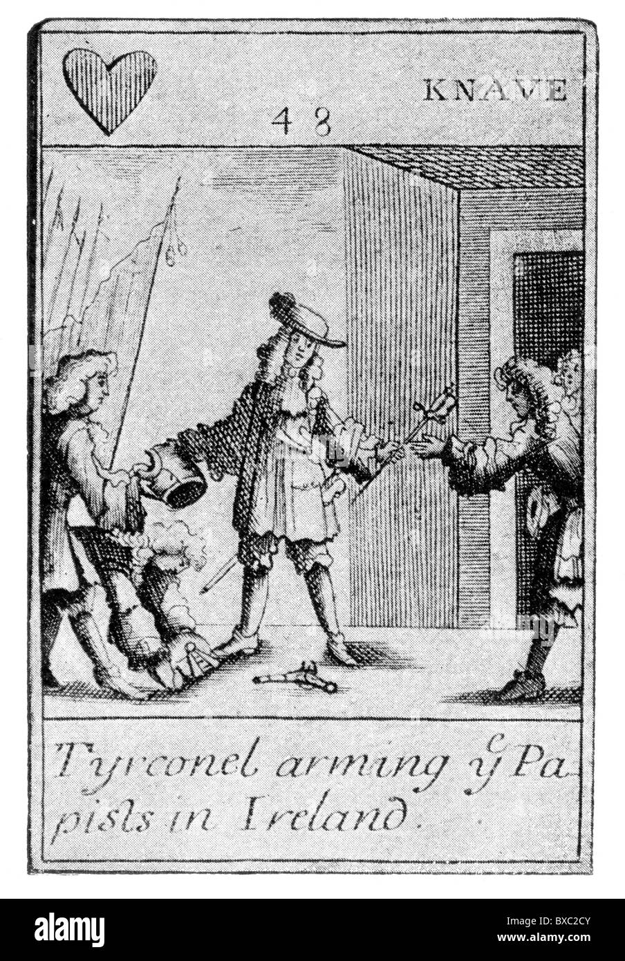 17th century satirical playing card;  Richard Talbot, 1st Earl of Tyrconnell arming the Papists; Black and White - Stock Image