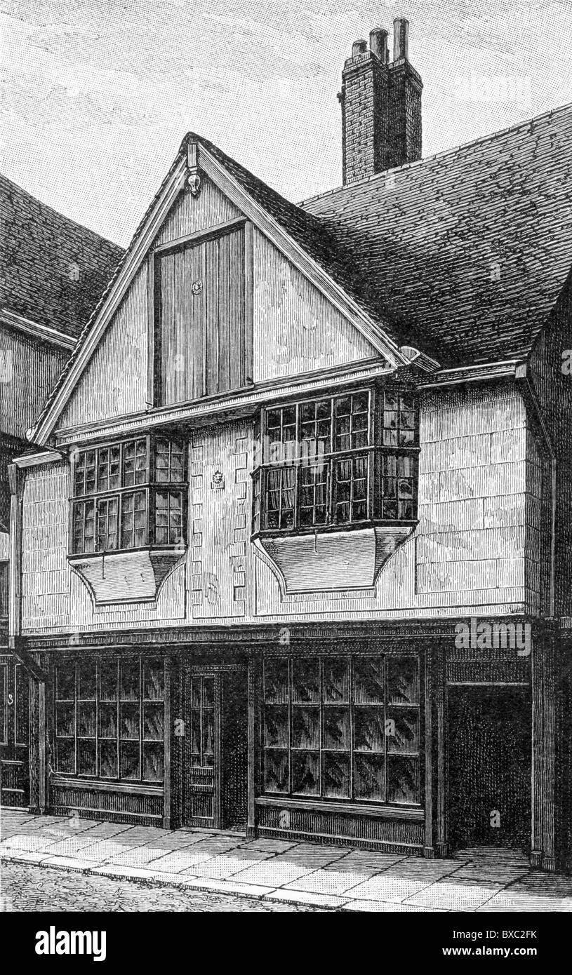 The house of Huguenot silk weavers, Canterbury, Kent, England; 17th century; Black and White Illustration; - Stock Image