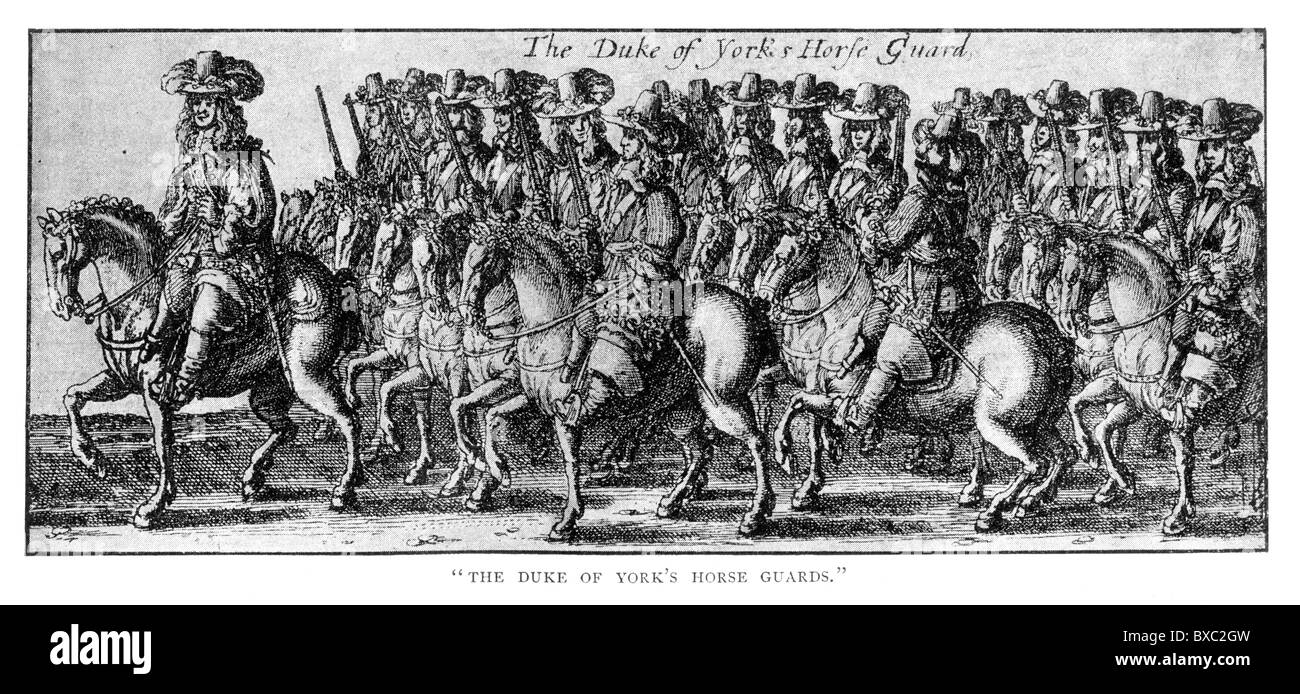 The Duke of York's Horse Guard; The Coronation Procession of Charles II, 23 April 1661; Black and White Illustration; - Stock Image