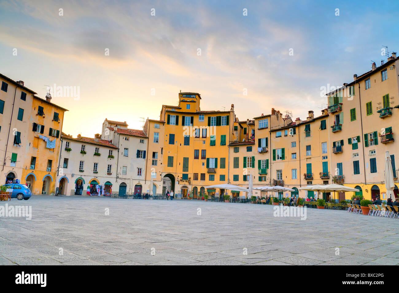 Piazza Anfiteatro Lucca Italy - Stock Image