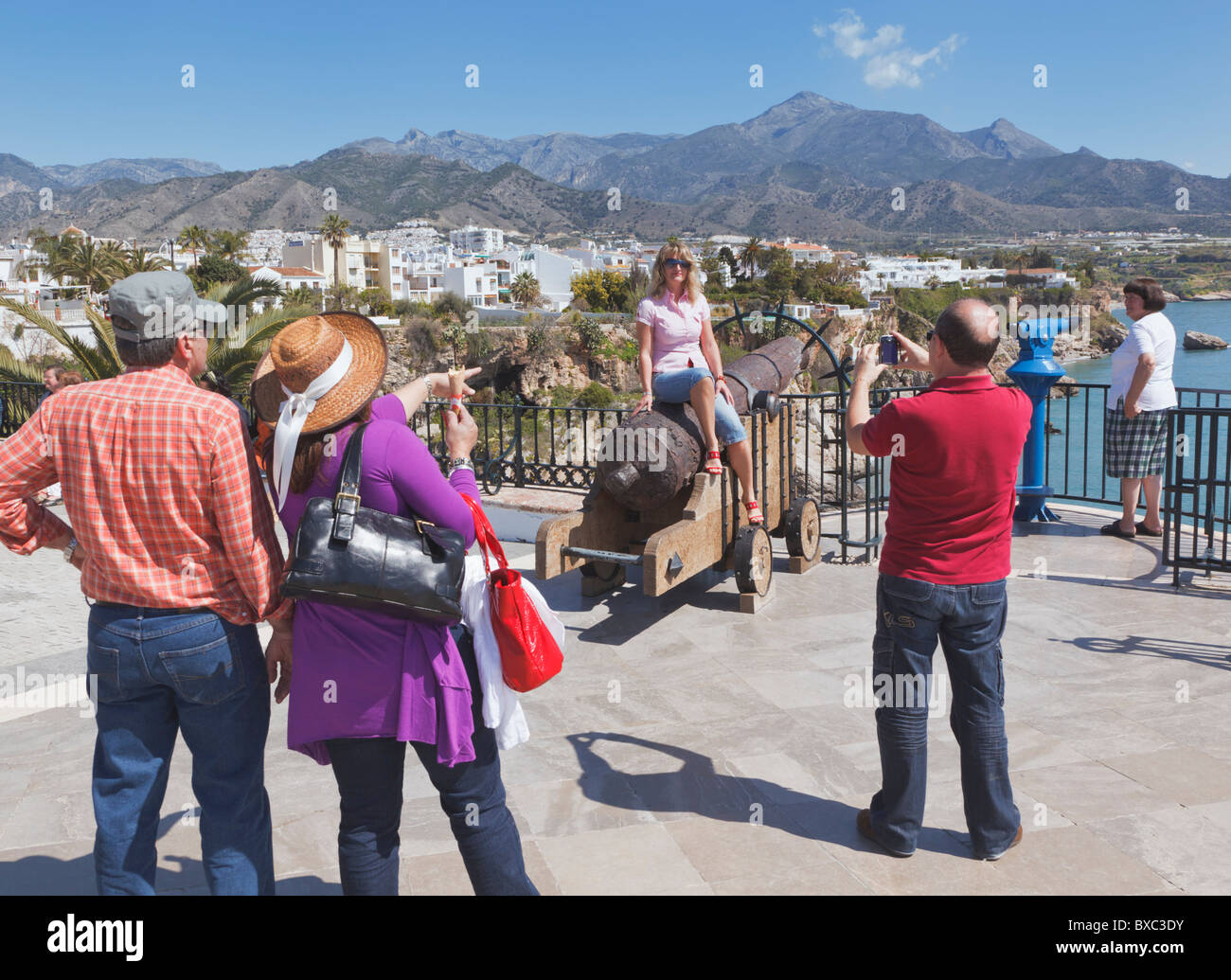Nerja, Costa del Sol, Malaga Province, Spain. Tourists on the Balcon de Europa. Balcony of Europe. - Stock Image