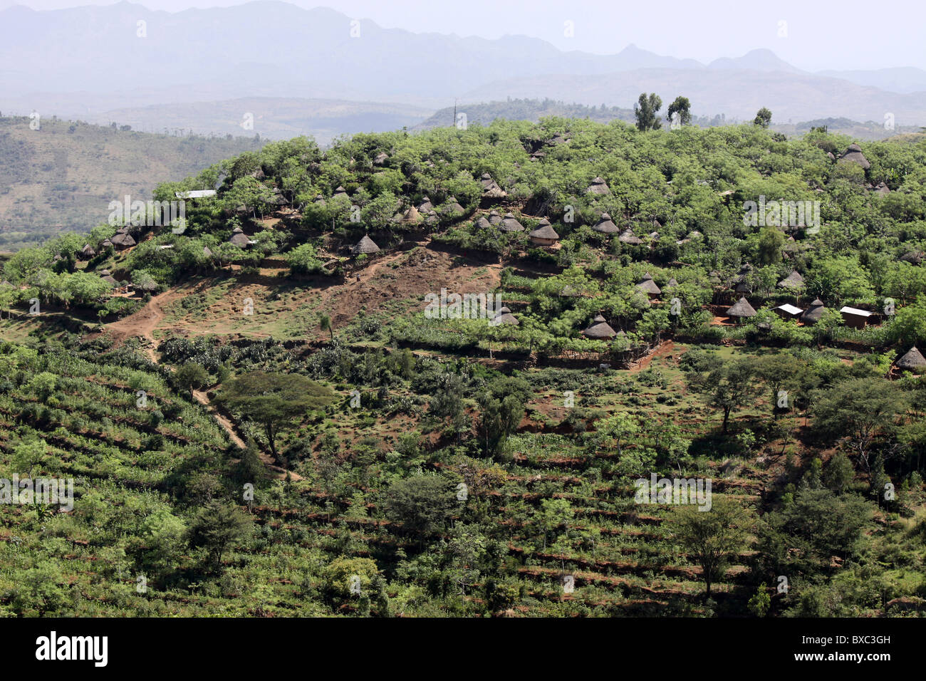 Village Settlements And Terraced Fields Of The Konso Tribe, Ethiopia - Stock Image