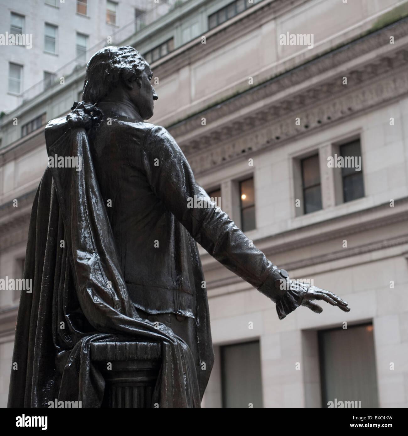 George Washington Statue in Manhattan, New York City, U.S.A. - Stock Image