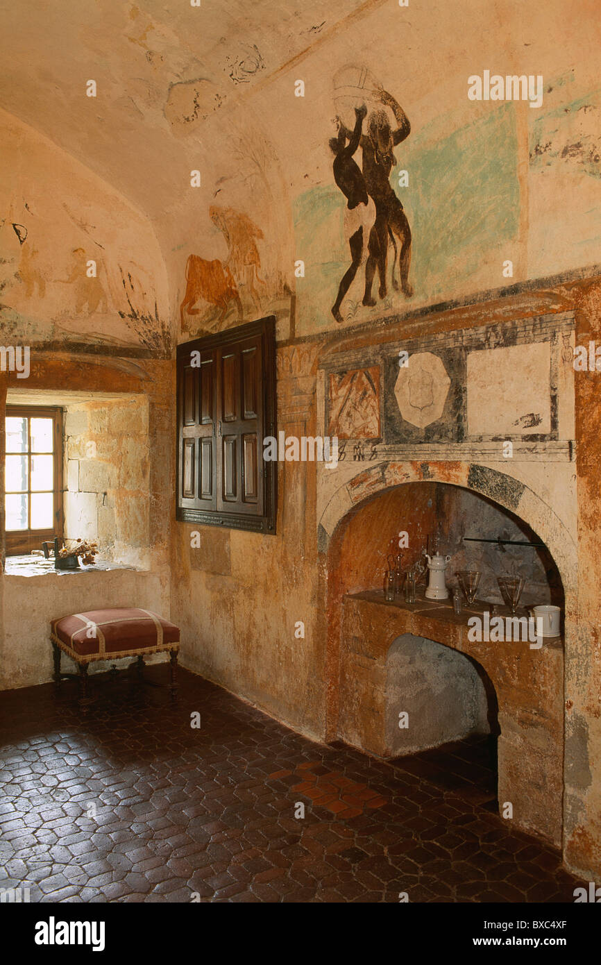 France, Quercy, Lot Valley, Cenevieres Castle, Alchemy Cabinet (16th century) - Stock Image