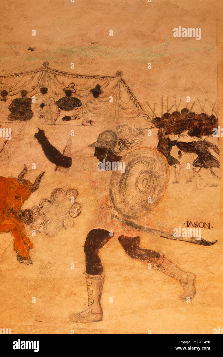 France, Quercy, Valle du Lot, Cenevieres Castle, Alchemy Cabinet (16th century), Wall Painting Representing Jason - Stock Image