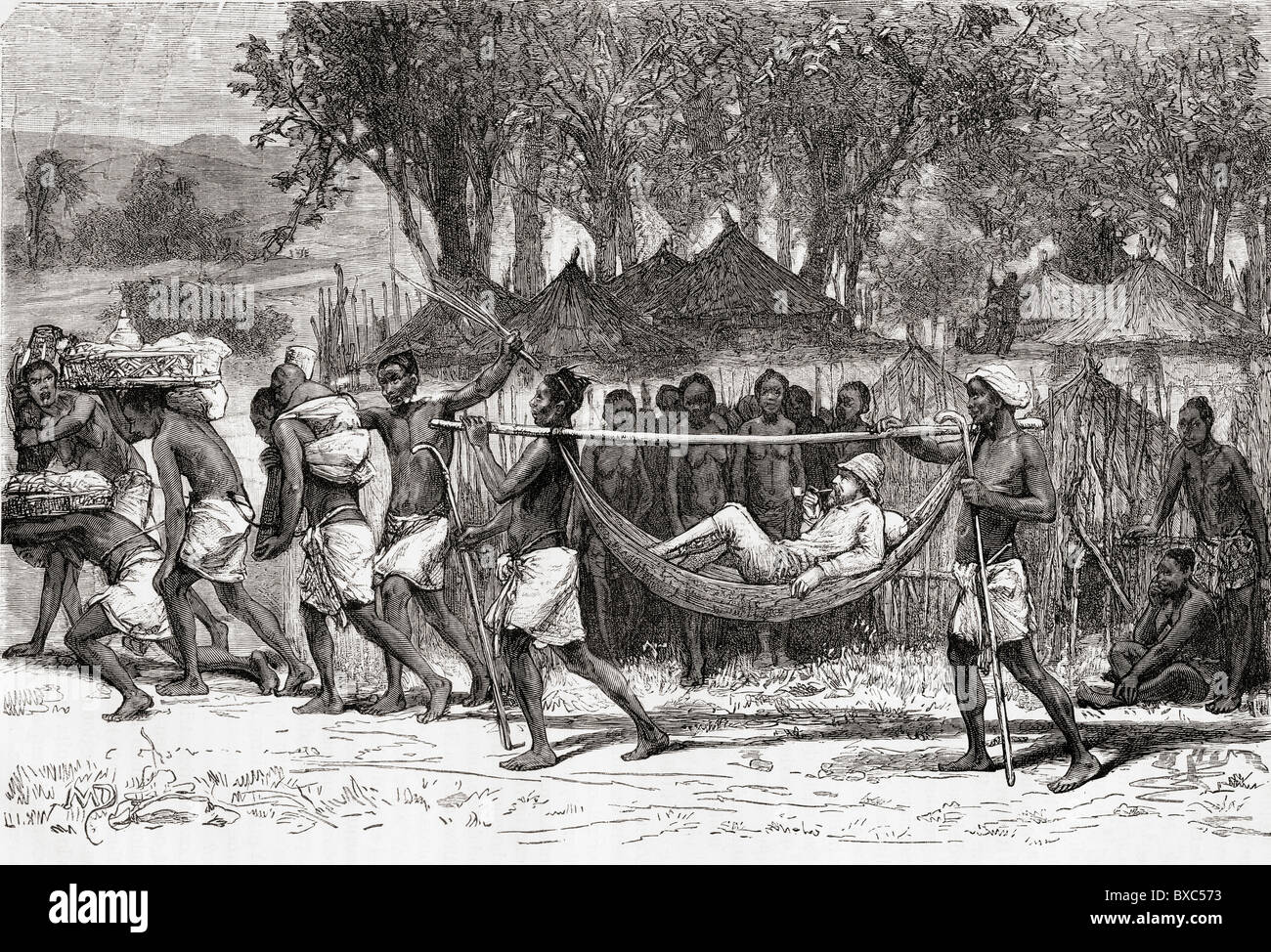 Verney Lovett Cameron arriving at the village of Oulonnda, Africa during his travels there in 1872 to 1876. - Stock Image