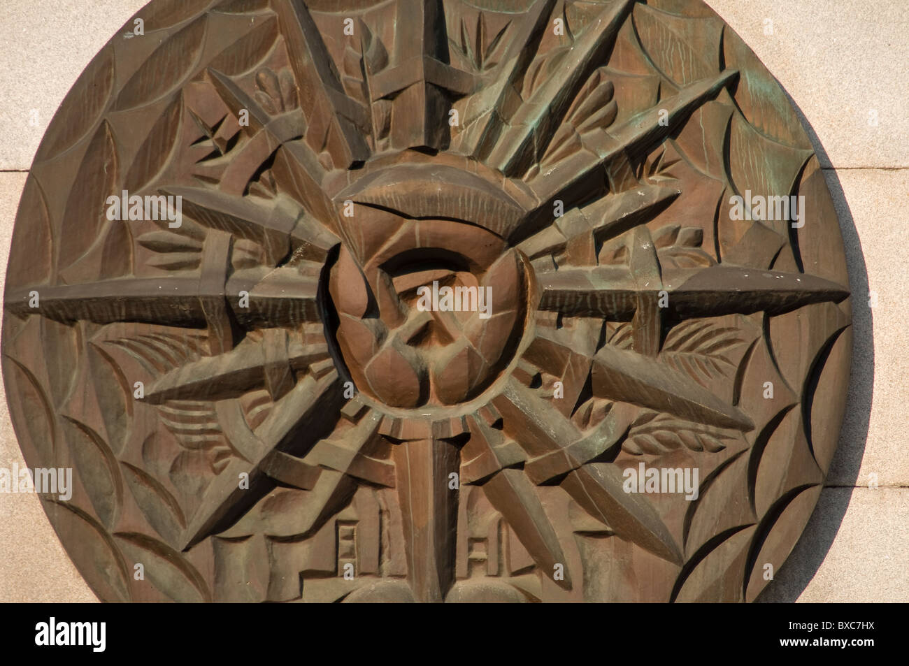 Wall Relief with Hammer and Sickle, New City Hall of Ostrava, Czech Republic - Stock Image