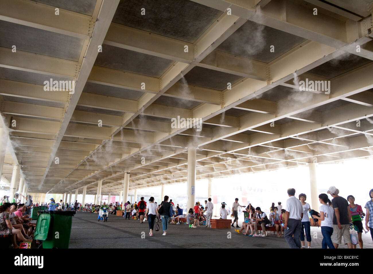 water vapor machine of shanghai expo for cooling the air - Stock Image