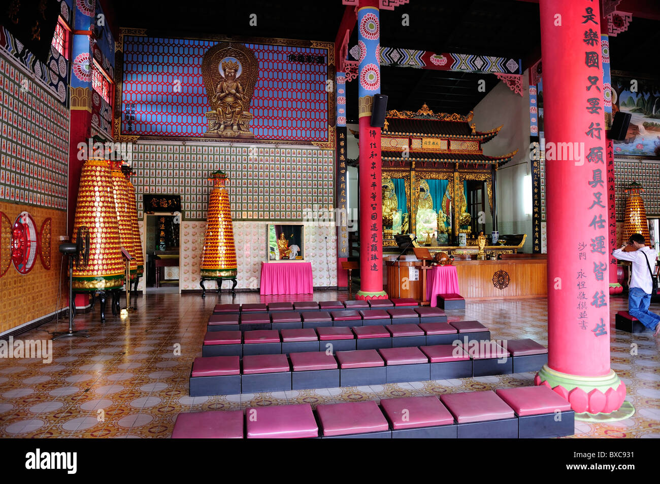 Interior of Puh Toh Si Chinese Temple near Kota Kinabalu, Sabah - Stock Image