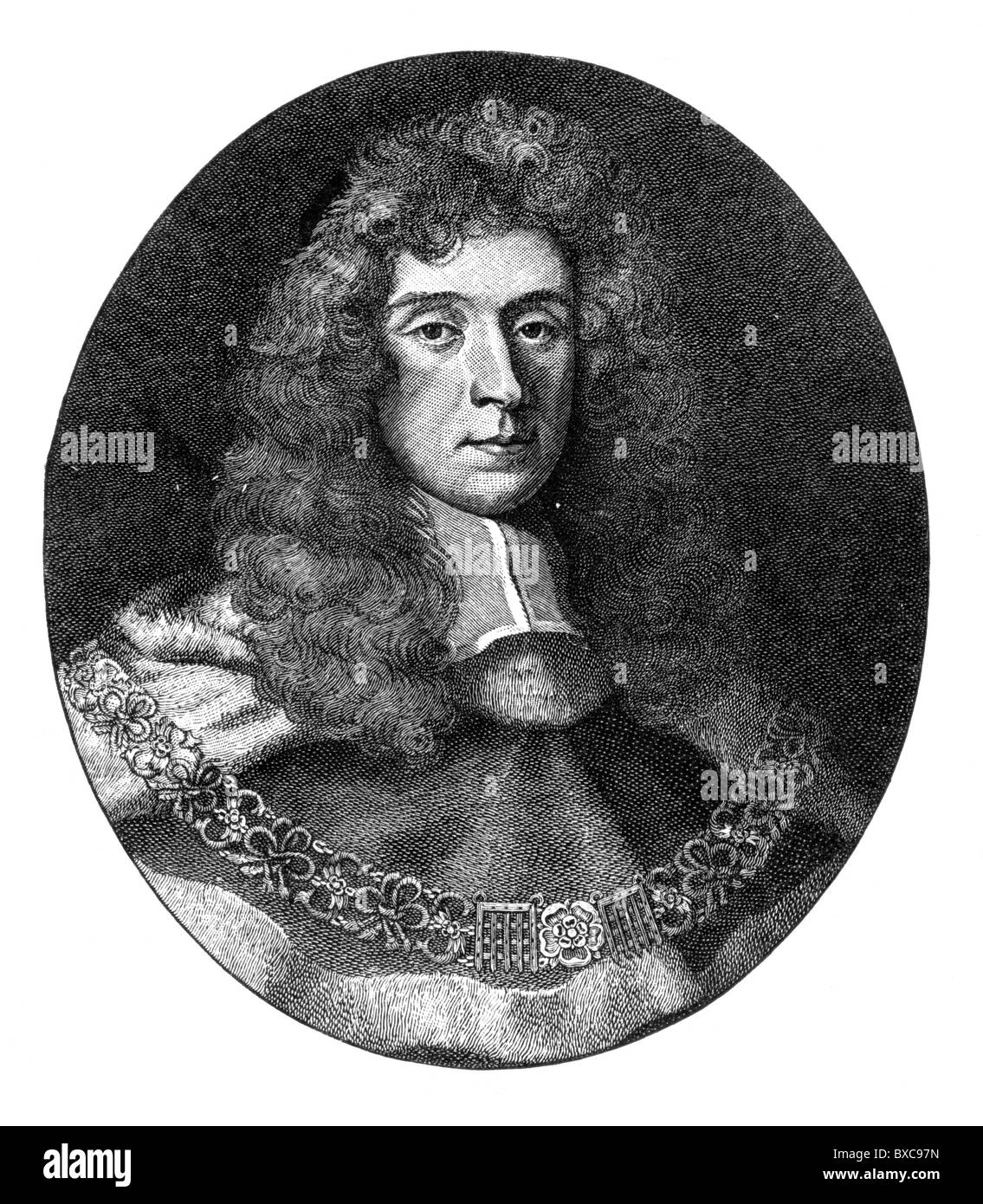 Portrait of George Jeffreys, 1st Baron Jeffreys as Chief Justice, AKA The Hanging Judge; Black and White Illustration; - Stock Image