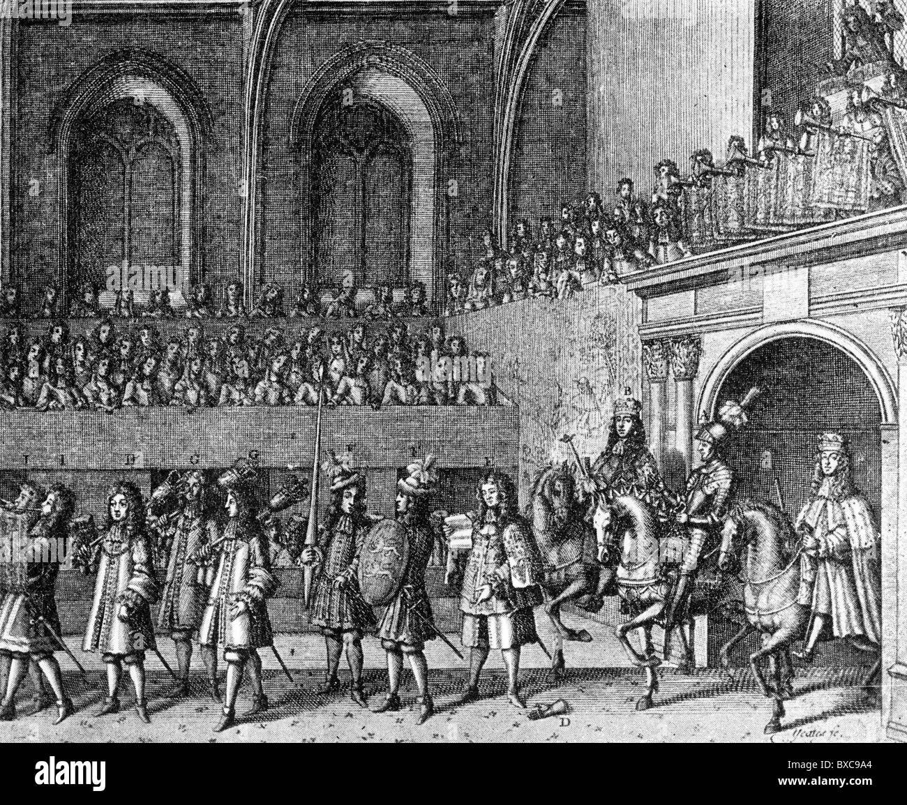 The Challenge at the Coronation of King James II of England, 1685; Black  and White Illustration;