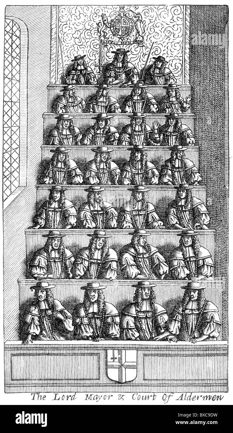 The Lord Mayor and Court of Aldermen; Frontispiece to De Laune, 'Present State of London' 1681; Black and - Stock Image