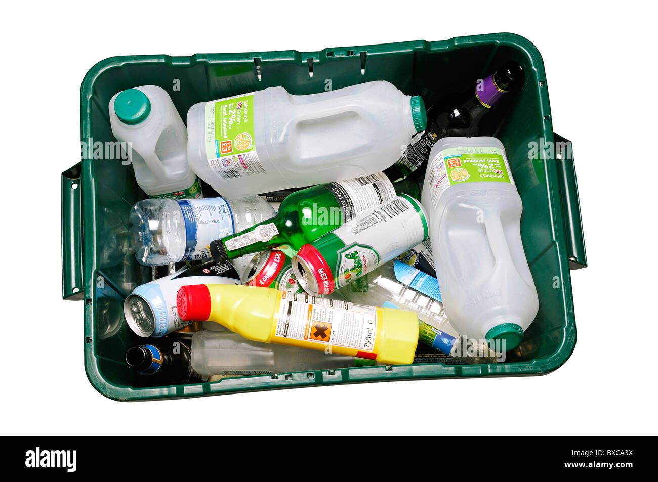 Recycling Container, UK. High Angle, Cut Out. - Stock Image