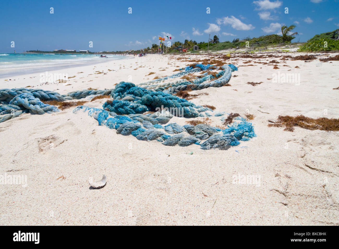 Discarded ship rope washed up on a sunny resort beach in mexico. - Stock Image