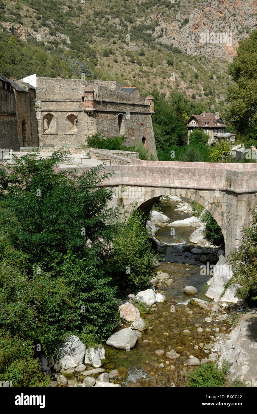 Stone Bridge at Town Gate, Fortified Town of Villefranche-de-Confluent with Fortifications by Vauban Pyrenees-Orientales, - Stock Image